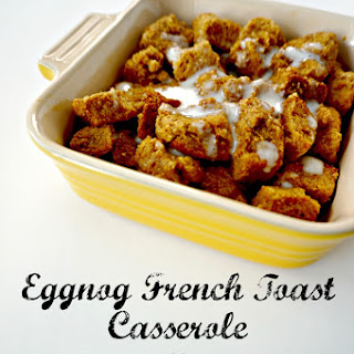 Eggnog French Toast Casserole with Bourbon Glaze
