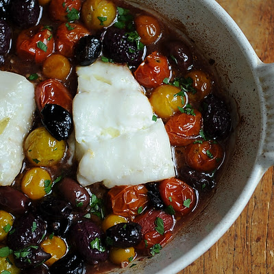 Roast Cod with Little Tomatoes and Assorted Olives