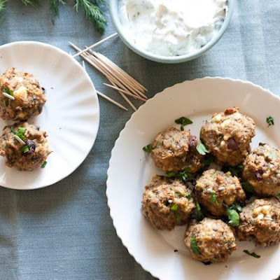 Mediterranean Turkey Meatballs with Herbed Yogurt Sauce