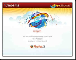 firefox Guinness World Record certificate