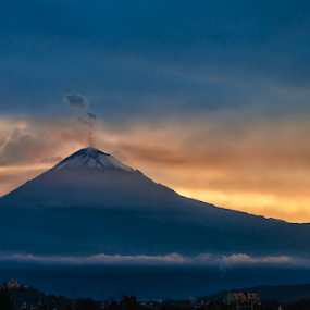 Sunset and Volcano by Cristobal Garciaferro Rubio - Landscapes Mountains & Hills ( volcano, sun smoking volcano, sunset )