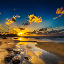 Stream of Light by Assi Dvilanski - Landscapes Sunsets & Sunrises ( sunset, beach )