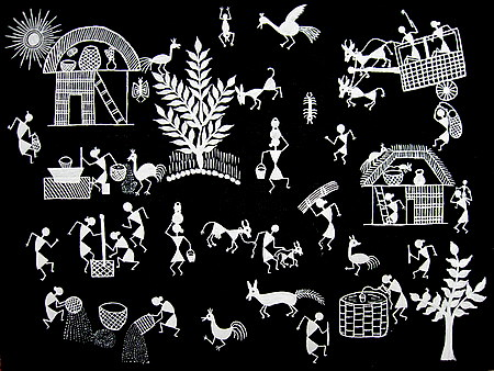 Warli Painting-Early Morning