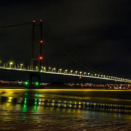 Humber bridge by Craig Glass - Buildings & Architecture Bridges & Suspended Structures ( water, lights, sand, humber, reflection, night, bridge, river )