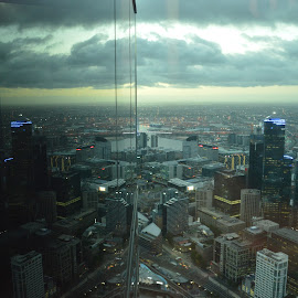 Reflections by Tim Bieler - City,  Street & Park  Skylines ( skyline, tower, eureka, * melbourne, sunset, victoria, city )