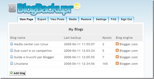 BlogBackupr - Blog Backup