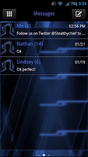 GO SMS Blue Tron Theme