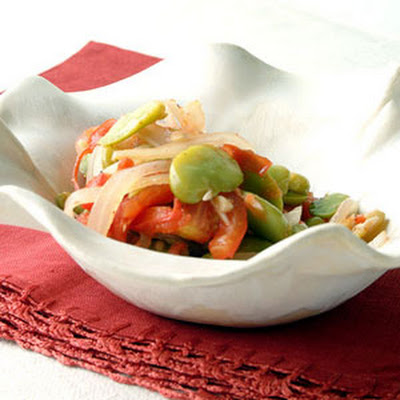 Fava Beans with Tomato and Onion