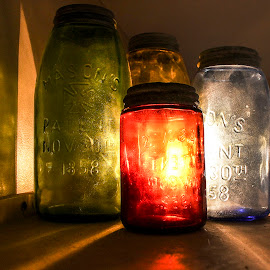 One Light, Many Colors by Kaitie James - Artistic Objects Glass ( orange, blue, color, green, jar, mason jar, glare, dark, yellow, light, jars )