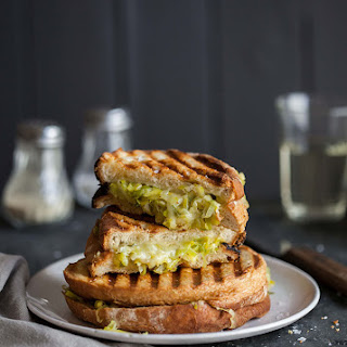 Buttery Leeks And Cheddar Cheese Toasted Sandwich On Sourdough