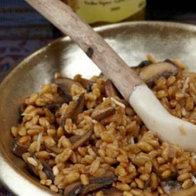Farro Risotto with Mushrooms and Pecorino