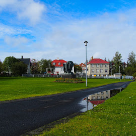 Reykjavík by Ólafur Ingi Ólafsson - City,  Street & Park  Neighborhoods ( water, houses, reflection, heaven, grass, green, house, reykjavík, iceland, red, sky, tree, blue, cloud, trees )