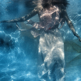 Girl In Water 3 by Ann Vargas - People Body Parts ( water, girl, underwater, dress, underwater photography, pink )