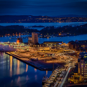Ferry getting ready to leave by John Einar Sandvand - City,  Street & Park  Night