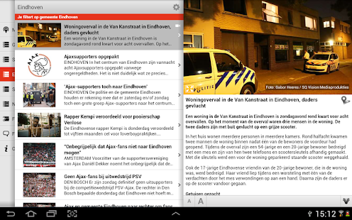 Mijn regio tablet - screenshot