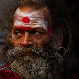 Lines. by Soumyadip Ghosh - People Street & Candids ( gangasagar, immerse, saint, sadhu, eyes )