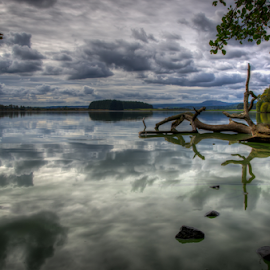 Time for Reflection. by Andrew Wood - Landscapes Waterscapes ( water, scotland, reflection, waterscape, menteith, still, lake, landscape )