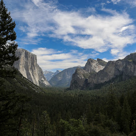 Blue over Valley by Tim Davies - Landscapes Mountains & Hills ( clouds, blue, yosemite, vista, valley )