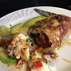 Omelet with everything on it + chicken sausage