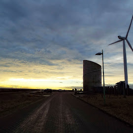 look east by Chrissy Woodhouse - Buildings & Architecture Other Exteriors ( clouds, ness point, gulliver, windturbine, sunrise )