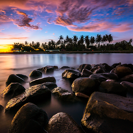 Panjalinan at Dusk by Ade Noverzan - Landscapes Sunsets & Sunrises ( sunset, twilight, beach, stones, dusk )