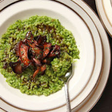 Green Risotto with Mushrooms (Vegan)