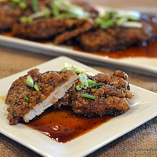 ~crispy Buttermilk Pork Chops In Sweet Soy Apricot Glaze With Green Onions~