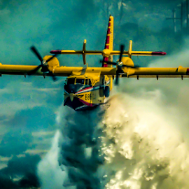 Waterbomb by Darko Maretić - Transportation Airplanes ( water, plane, drop, wings, aircraft, fixedwing, firefighting, aerial, cl415, canadair,  )
