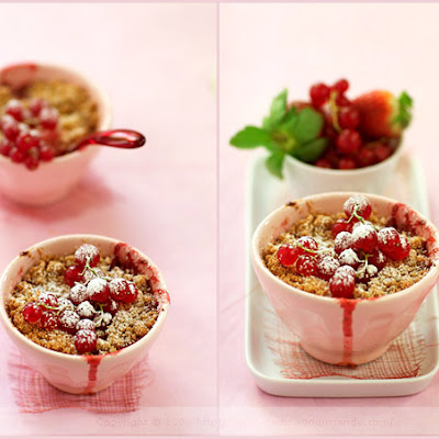 Stewed Fruit and Vanilla Custard Crumble