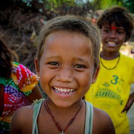 Happiness needs no money by Sanjeev Goyal - Babies & Children Children Candids ( talisman, red, girl, yellow, boy,  )
