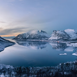 Polar Night by Tomasz Woźniak - Landscapes Mountains & Hills ( polar, tomasz woźniak, raagoon, water, mountains, winter, senja, sea, night, norwegia, norway )