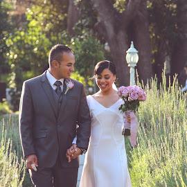 by Randall Langenhoven - Wedding Bride & Groom ( love, walking, wedding, couple, bride, groom )