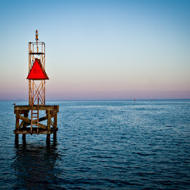 Heading to the Gulf by Matthew Chambers - Digital Art Things ( water, corpus christi, corpus, bouy, texas, ocean, gulf of mexico, serenity, blue, mood, factory, charity, autism, light, awareness, lighting, bulbs, LIUB, april 2nd )