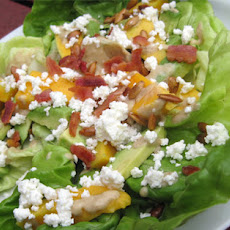 Avocado-Mango Salad with Cheese, Bacon and Toasted Pumpkin Seeds
