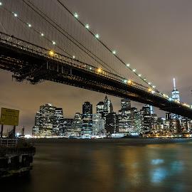 Brooklyn Bridge by Mirco Balboni - City,  Street & Park  Night ( brooklyn bridge, new york )