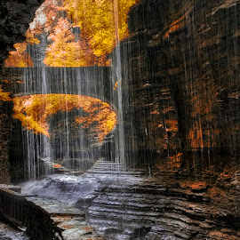 Pouring over the Ledge! by Fred Herring - Landscapes Caves & Formations