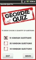 Screenshot of Geordie Quote Quiz