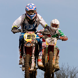 Photo finish? Wakes Colne Motocross by Dave Byford - Sports & Fitness Motorsports ( england, motocross, motorbike, wakes colne, motorcycle, race )