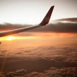 by Yudi Saksono - Transportation Airplanes ( flight, sunset, balikpapan, indonesia, lionair, surabaya,  )