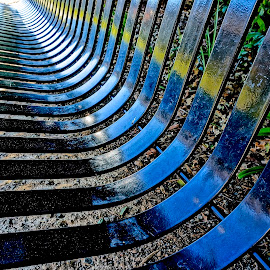 Have a Seat by Barbara Brock - Abstract Patterns ( patterns in metal, metal bench, bench, park bench,  )