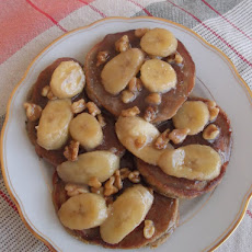Roasted Banana and Walnuts Pancakes with Banana-Coconut Butterscotch Sauce