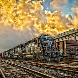 At The Mill by Troy Wheatley - Transportation Trains ( train tracks, hdr, engine, train, steam )