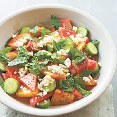 Heirloom Tomato and Watermelon Salad with Feta and Mint
