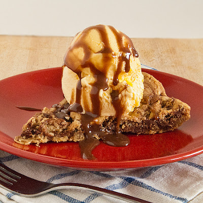 One Pan Skillet Cookie Pie with Chocolate Sauce