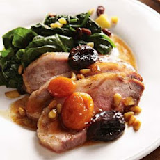 Roast Pork with Dried Fruit and Catalan-Style Spinach
