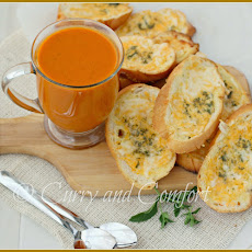 Roasted Tomato Carrot Soup with Cheesy Bread Dunkers- Kids in the Kitchen