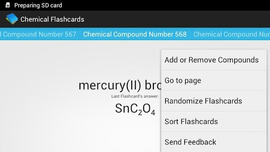 Chemical Flashcards - screenshot