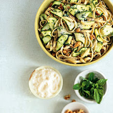 Fettuccine with Walnuts, Zucchini Ribbons, and Pecorino Romano