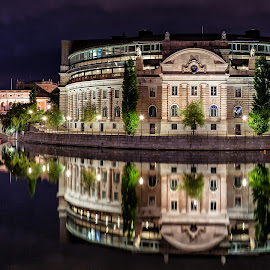 Parliament House, Stockholm, Sweden by Michael Wiejowski - City,  Street & Park  Night ( parliament, sweden, stockholm, europe, night, architecture,  )
