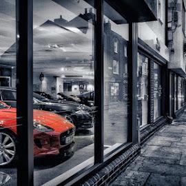 Red Jaguar by Dan Horton-Szar ARPS - City,  Street & Park  Street Scenes ( jaguar, car, shop, reflection, selective colour, red, window, canterbury, kent, morning )